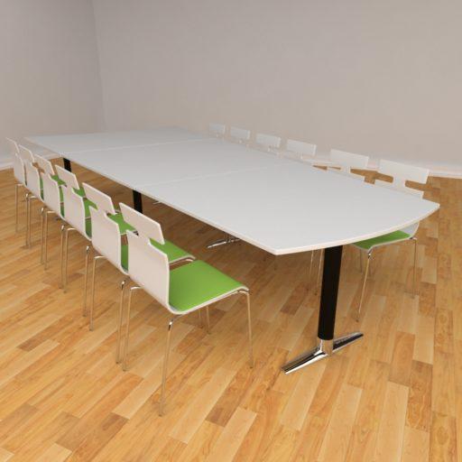Switch Media mødebord - 375 x 105-170 cm - Sortkrom ben - Hvid laminat plade