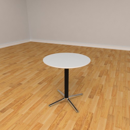 Switch cafebord - 70 cm diameter - Sortkrom ben - Hvid laminat plade 2