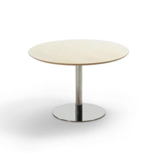 Mødebord Fazet. Bøg finer bordplade og alu ben/fod - diameter 110 cm.