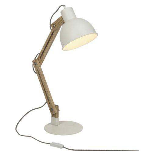 Elias Skrivebordslampe hvid. En sjov nytænkning af skrivebordslampen. Vælg mellem sort eller hvid metal skærm. Stativet er i træ. Foden gør lampen stabil uden at den fylder meget Højde 540 mm - skærm 200 mm i diameter. Husk en LED pære med stor fatning - den holder i 25.000 timer og bruger næsten ingen strøm.