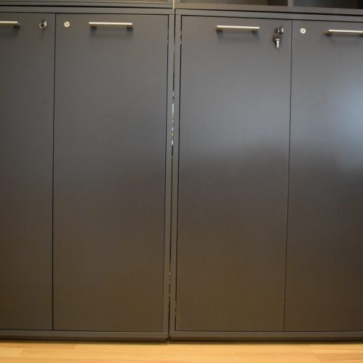 Jive - 3 - span Bookcase + door with lock - Anthracite paint