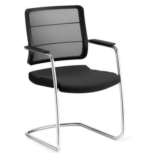 Airpad gæste/mødebordsstol - krom stel - sort fletryg