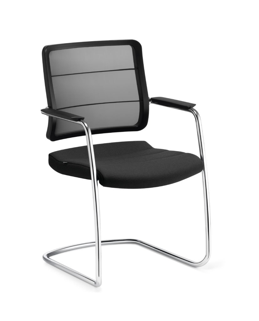 Image of   Airpad gæste/mødebordsstol - krom stel - sort fletryg