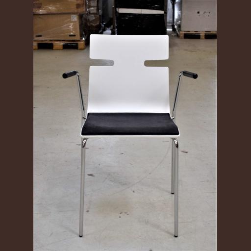 Whisper stol hvid lak - mørkegrå sædepolster - med armlæn