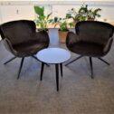 Dan-Form Gaia loungestole - Flow bord Ø45 cm rundt - Sort laminat - udstillingsmodeller - Spar 50 %